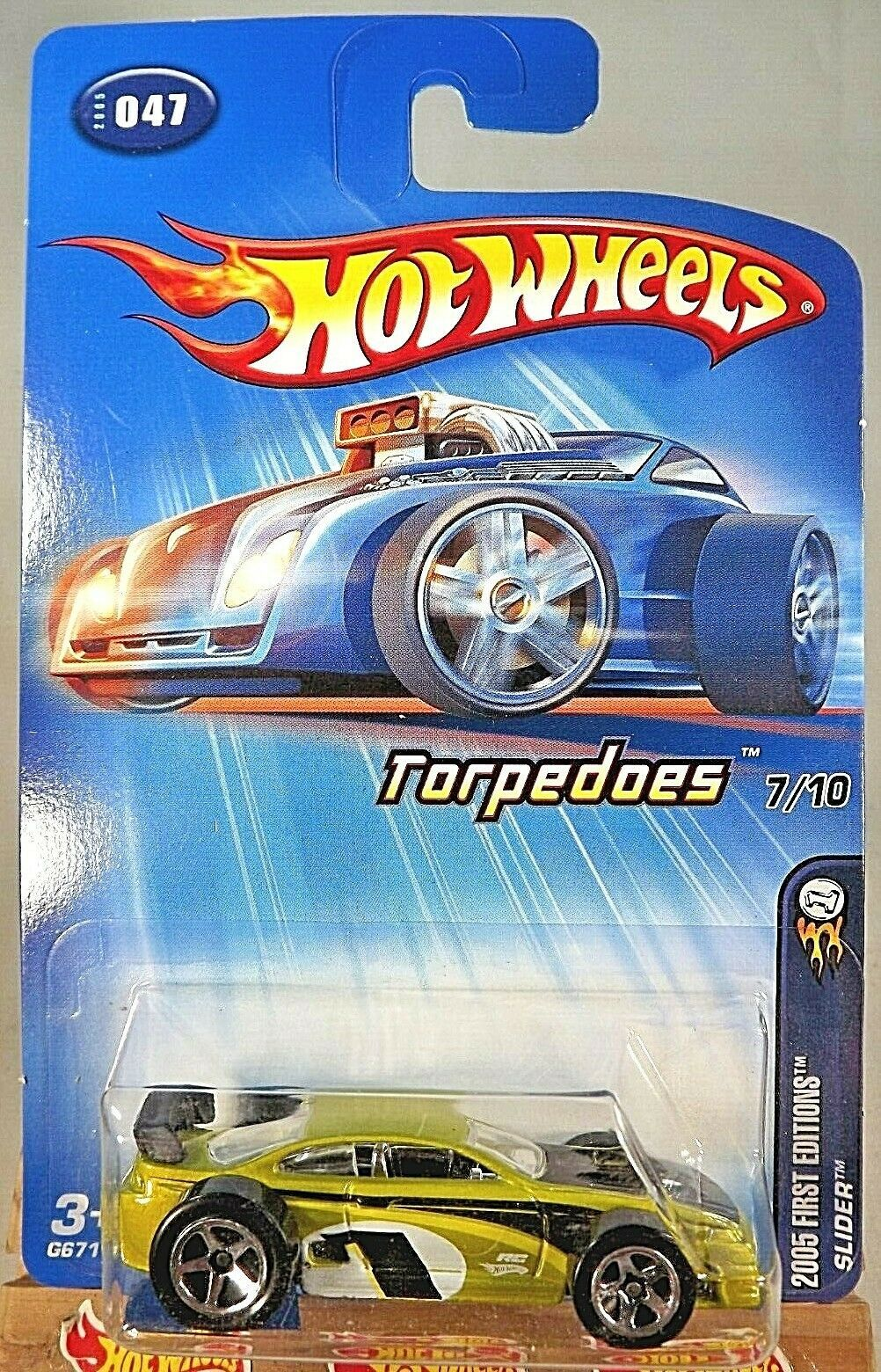 Primary image for 2005 Hot Wheels #47 First Editions Torpedoes 7/10 SLIDER Lime w/5 Spoke Wheels