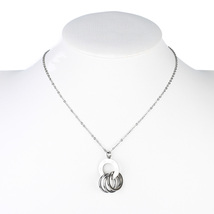 UE- Silver Tone Designer Circular Pendant Necklace & Interlocking Eternity Rings - $16.99