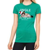 Grumpy Cat Jingle Far Away Women's Kelly Green T-shirt NEW Sizes S-2XL - $22.76+