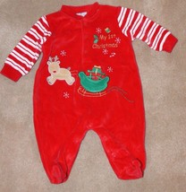 1st Christmas Holiday Baby Boy Girls Red Sleeper 0 - 3 months  - $7.50
