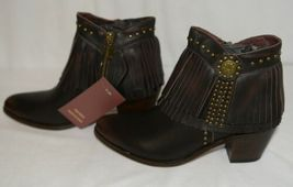 Lucky And Blessed SH 11 Dark Brown Leather Boots Fringe Metal Studs Size 10 image 5