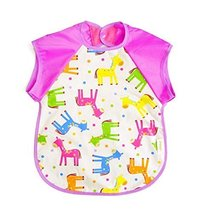 Summer Cotton Waterproof Short Sleeved Bib Baby Feeding Smock HORSES, 1-3 Years