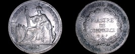 1927-A French Indo-China 1 Piastre World Silver Coin - Vietnam - $149.99