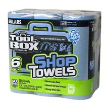 SELLARS Shop Towels Blue Original Multi Purpose 6 Roll Case Absorbs Grea... - $22.00