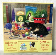 """Tucker's Toy Basket Cat Yarn SunsOut Puzzle 500 Pieces 18"""" x 24"""" New - $18.95"""