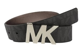 NEW MICHAEL KORS WOMEN'S PREMIUM MK LOGO FAUX LEATHER BELT BLACK 553376