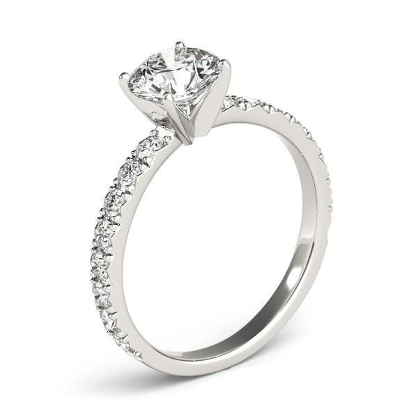 14k White Gold Single Row Shank Round Diamond Engagement Ring (1 1/3 cttw)