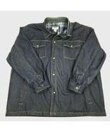Vtg DUKE Haband Denim BARN Coat Work Snaps Jacket FLANNEL Lined 3XL Truc... - $35.59