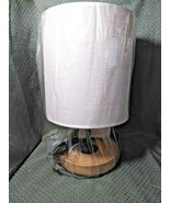 """Table Nightstand Desk Lamp w/Wood Base and Linen Shade 8"""" x 8"""" x 13 1/2"""" - $39.99"""