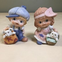 Vintage Homco #1439 Adorable Little Boy and Girl with Dog and Cat Figures - $7.91