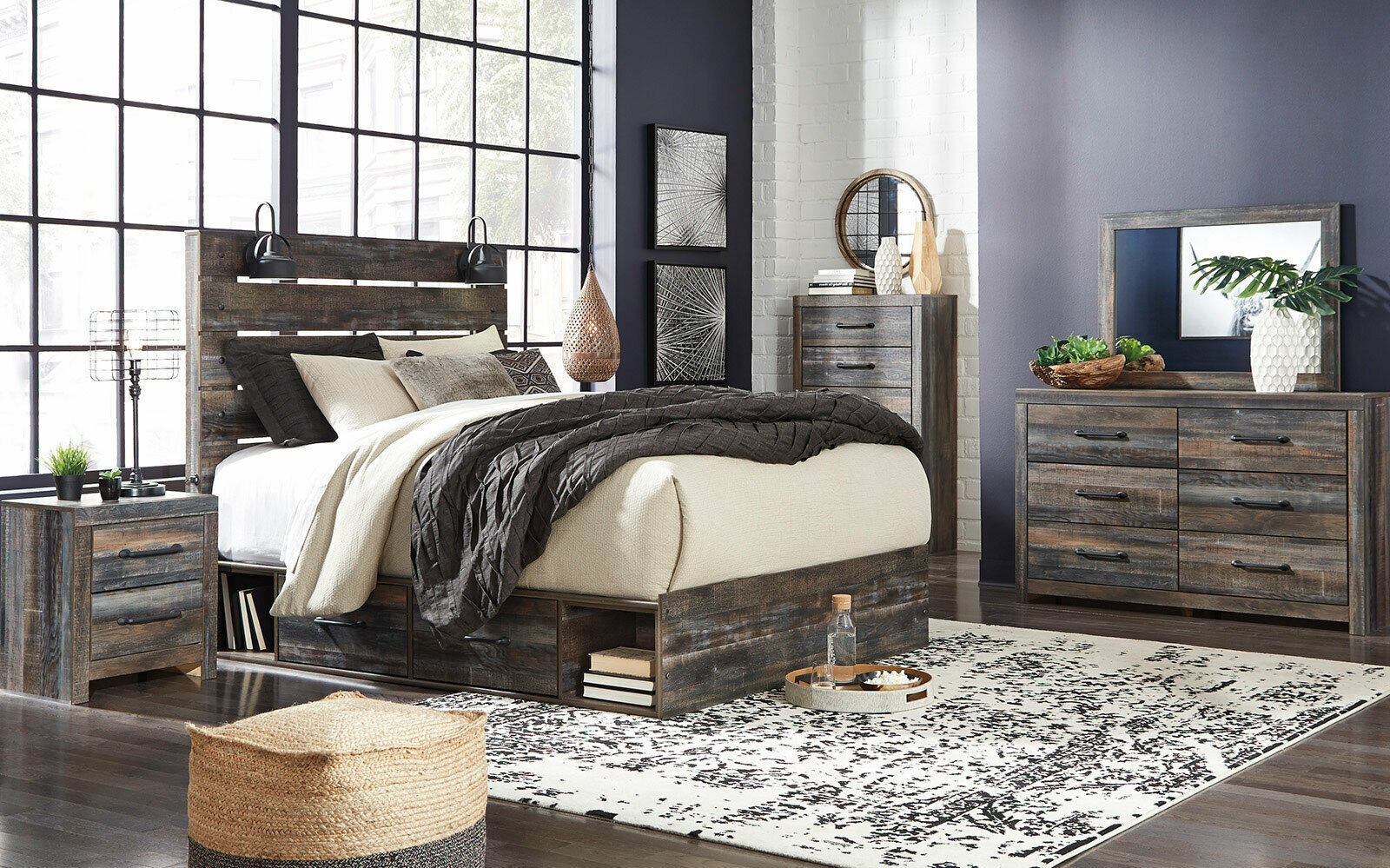 orion 5 pieces modern rustic brown bedroom suite with king