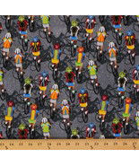 Bikes Bikers Cycling Race Racing Sports Gray Cotton Fabric Print by Yard... - $11.49
