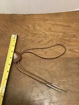 Bolo Tie Brown Agate With Quartz Stone Brown & Tan Leather Strap Silver ... - $20.00