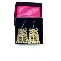Avon Foundation Dimensional Gold Bell Earring Pair Gold Tone Cut Outs Christmas - $12.00