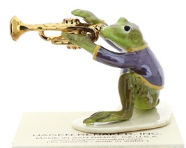 Hagen-Renaker Miniature Ceramic Frog Figurine Toadally Brass Band Trumpet Player image 1