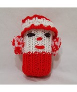 "Vintage Rattle Christmas Clown Crochet Red White 4"" Baby Handmade - $11.99"