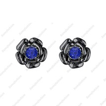 Rose Flower Earring Blue Sapphiar 14k White gold Over. 925 Sterling Silv... - $39.99