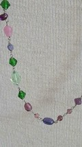 "60""VINTAGE Signed Aeo Genuine Glass Chain Necklace,Pastels,Pink Green,Blue,Purpl - $5.67"