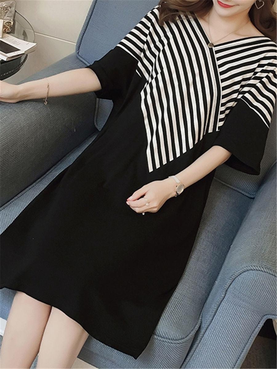 Maternity Dress Patchwork Color Block Stripes Batwing Sleeve V Neck Loose Dress image 6