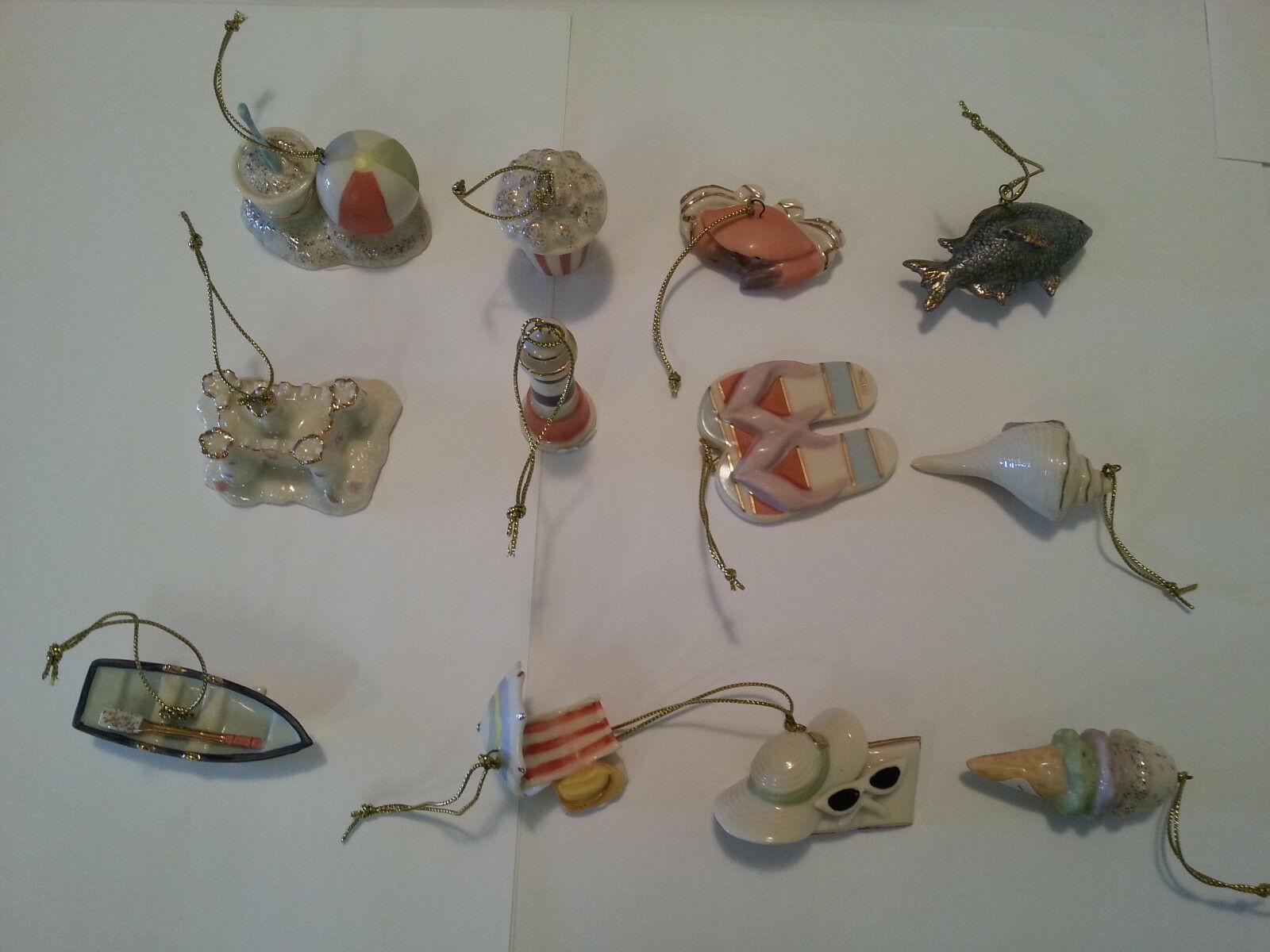 Lenox Summer Miniature Tree Ornaments Set of 12 Sand Castle Boat Beach Ball NEW