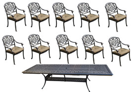 11 piece cast aluminum dining set patio furniture Elisabeth extendable table 132 image 2