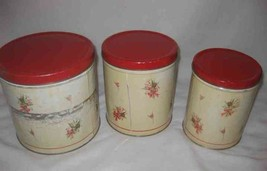 Neat Vintage Set Of 3 Metal Canisters Set Green And Red Tulips - $38.52