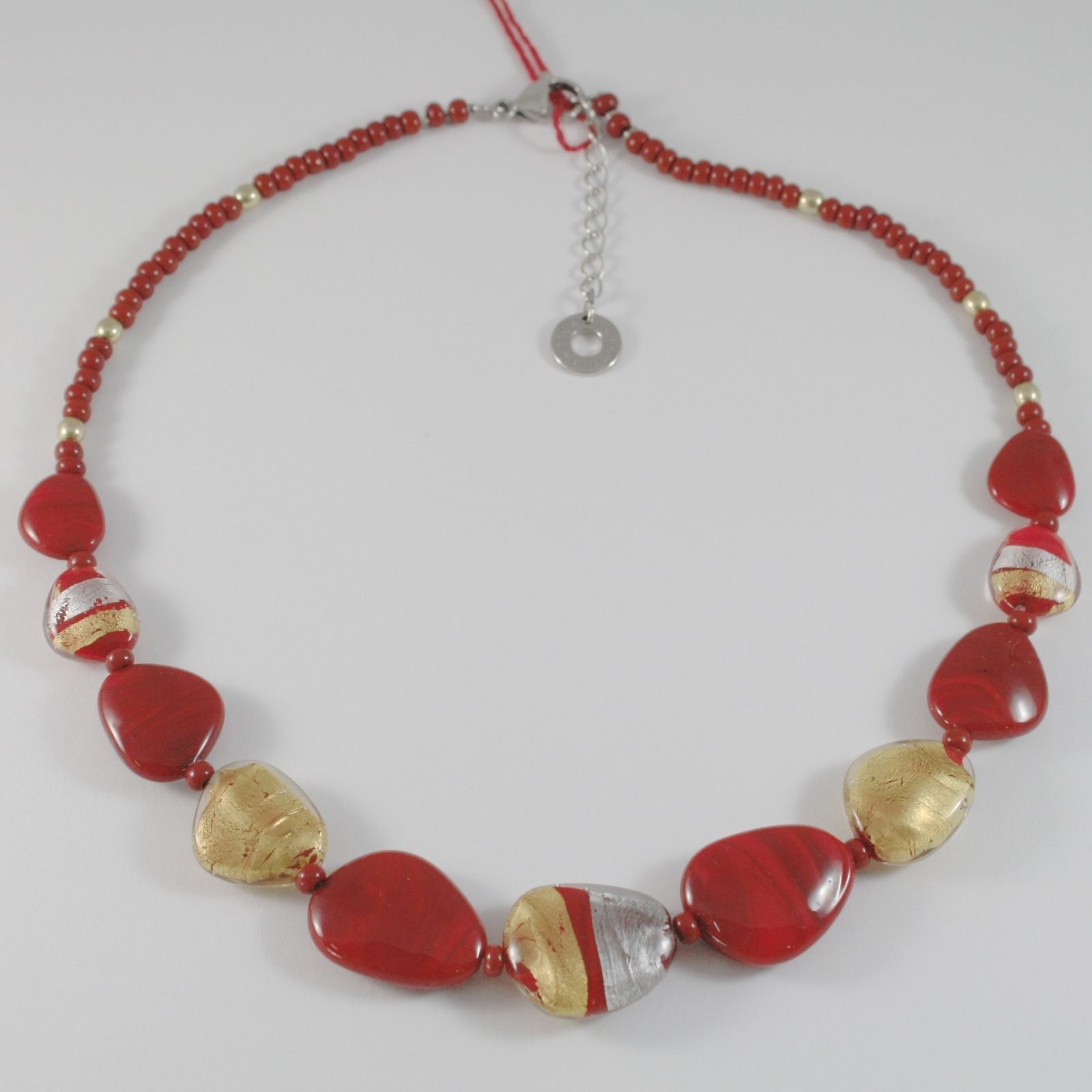 ANTICA MURRINA VENEZIA STRIPED NECKLACE WITH RED, SILVER AND GOLD FLAT DROPS