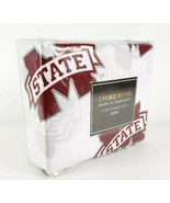 Mississippi M State King Size 4 Piece Bed Sheet Set White Red Evoke Home... - $47.27
