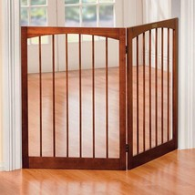 "Gorgeous Walnut Finish Indoor 2 Panel Freestanding Pet Gate Barrier 36"" ... - $105.88"