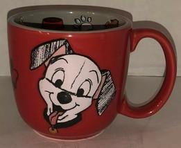 101 Dalmatians Red Ceramic Coffee Mug Cup 3D Textured Walt Disney Puppies Rare - $46.95