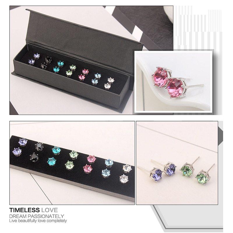 MALANDA 7 Colors Earrings Set Crystal From Swarovski Round Earrings For Women 20