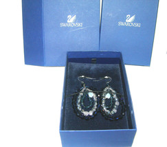 HUGE VINTAGE SWAROVSKI BLUE BLACK SILVER COLOR CRYSTAL CHANDELIER EARRINGS - $250.00