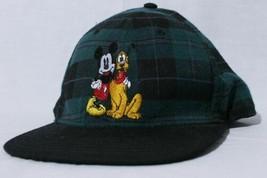 Disney Hat Mickey & Pluto Green Plaid Snapback Adjustable Cap - $39.55