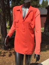 Splendid Large Coral Casual Sheer Tunic Top Rayon Cotton Blend Anthropol... - $30.84