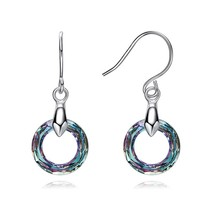BAFFIN Colorful Fancy Stone Round Circle Drop Earrings Crystals From Swa... - $25.09