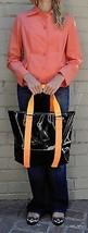 Marc By Marc Jacobs Shiny Designer Handbag Shoulder Purse Tote Black Orange S - $26.73