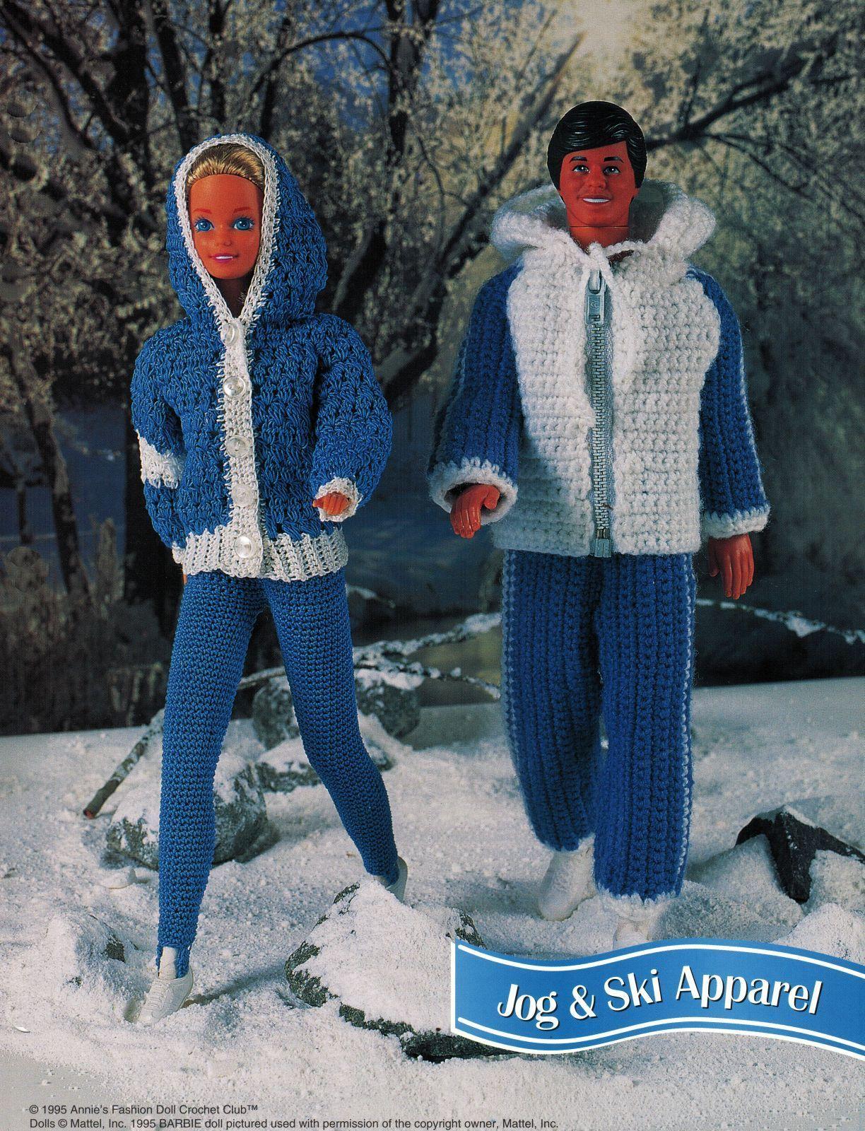 "4X Barbie 11-1/2"" Doll Winter Jog Ski Jacket Hat Boot Scarf Crochet Pattern"