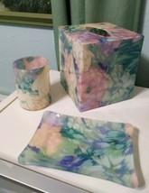 Set 3 Acrylic plastic Bathroom Vanity Accessory Chiffon Spring pastel  f... - $28.02