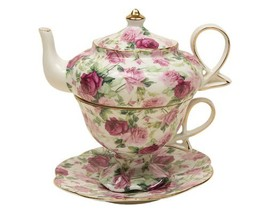 Gracie China by Coastline Imports 4-Piece Porcelain Tea for One, Stacked... - $30.65