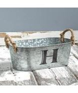 Galvanized Monogram Bucket H - $13.65