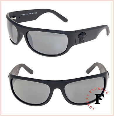 VERSACE Men Black Medusa Wrap Sunglasses VE4276 Matte Grey Silver Mirrored 4276