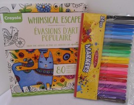 HALLMARK Crayola WHIMSICAL ESCAPES COLOURING FOR GROWN-UPS BOOK WITH MAR... - $11.43