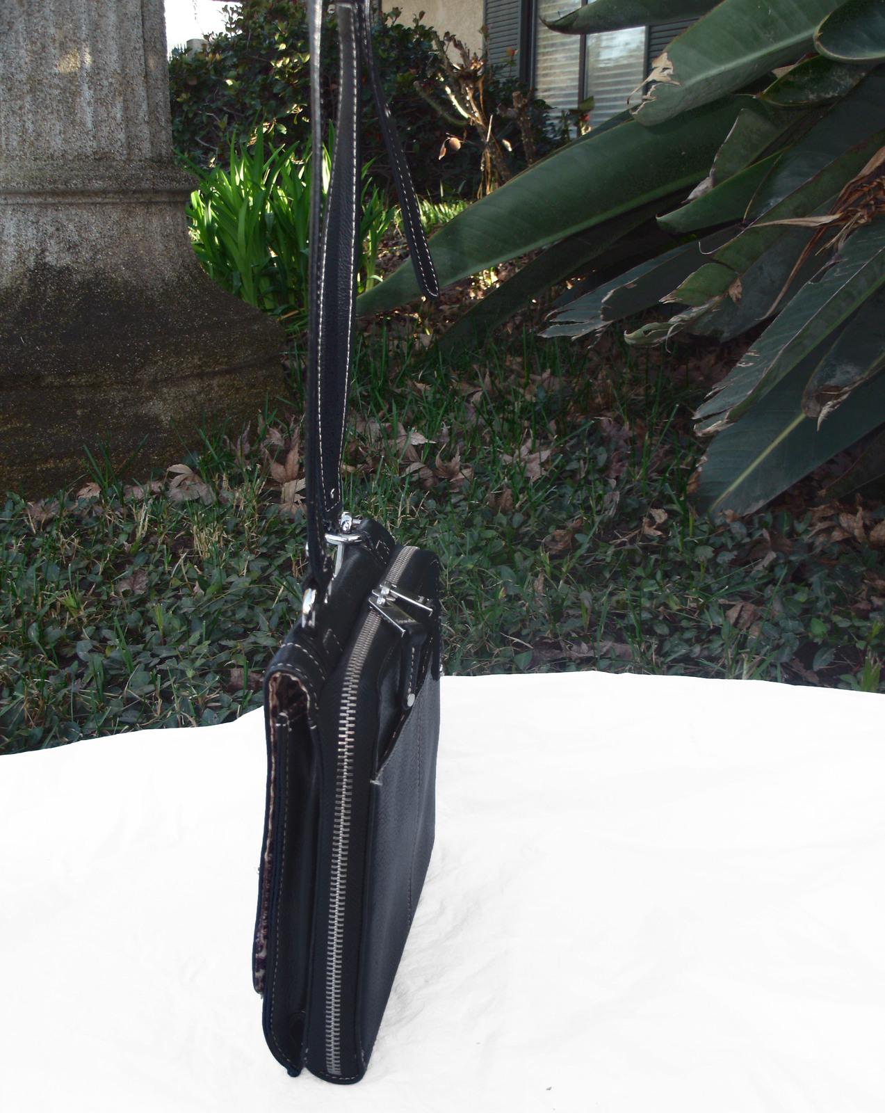 Tignanello Black Pebbled Leather Organizer Crossbody built in Wallet image 5