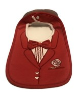 Baby Tuxedo Bib Red with Bow Tie And Rose Flower Wedding A23 - $8.95