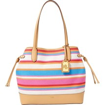 e4c34f8360 New Ralph Lauren Women  39 s Piedmont Adalyn Canvas Stripe Tote Bag Purse -