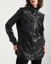 Both Side Pocket Front Line Button Long Leather Women's Genuine Leather Jacket