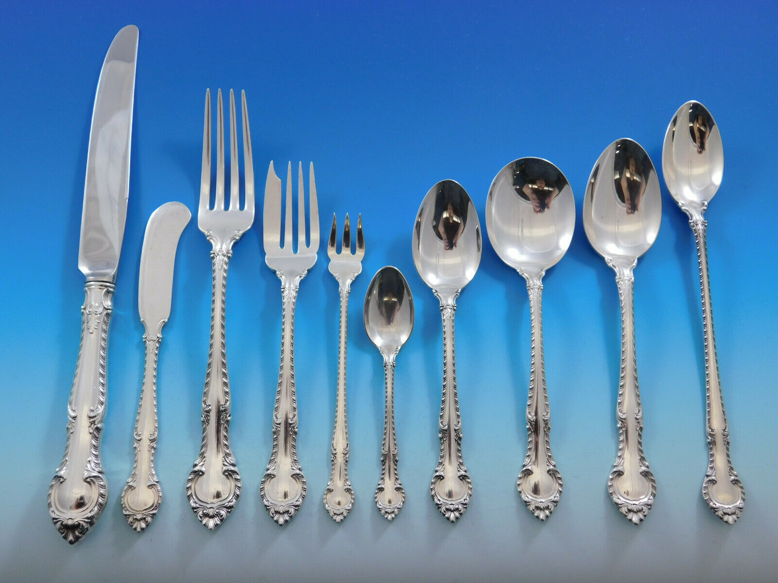 Primary image for English Gadroon by Gorham Sterling Silver Flatware Set 8 Service 94 pcs Dinner