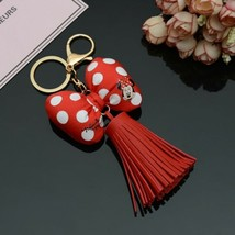 Key Chain Bowknot PU Leather Tassels Mickey With One Tassel For Car Bag ... - $7.88