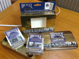 Bicycle Playing Cards 2000 Limited Edition in Tin 2 Decks One w/o Seal - $4.89