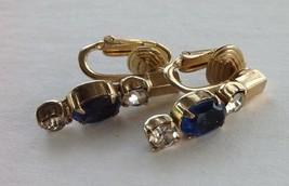 Castlecliff Earrings Costume Rhinestone Blue Sapphire Colored Glass - $14.16